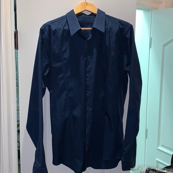 869be3853457 Gucci Shirts | Mens Dress Shirt In Dark Blue Skinny Fit | Poshmark